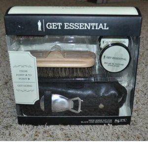 Shoe Shine Kit Get Essential 8 Pc Black & Brown